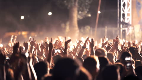 cheering crowd at a concert. - celebration event stock videos & royalty-free footage