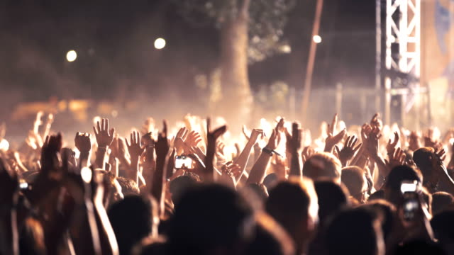 cheering crowd at a concert. - crowd of people stock videos & royalty-free footage