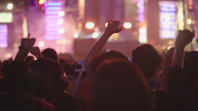 cheering crowd at a festivals in bangkok thailand - concert stock videos & royalty-free footage