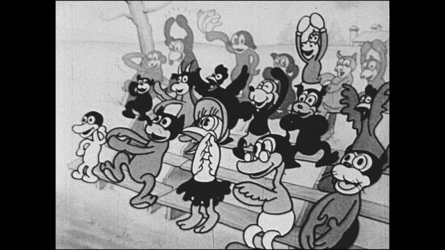vídeos de stock e filmes b-roll de 1933 cheering crowd of animated animal characters - ecstatic