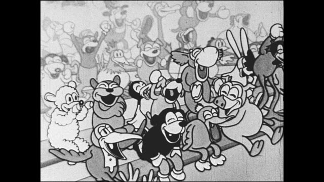1933 Cheering crowd of laughing animated animal characters