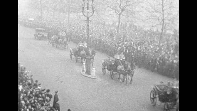cheering crowds line london street as carriages bearing field marshal douglas haig commander of the wwi british expeditionary force passes by with... - field marshal stock videos and b-roll footage
