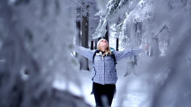 雪の森のハイキング女性を応援 - 腕を広げる点の映像素材/bロール