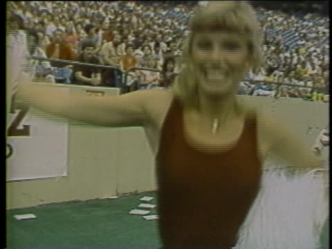 1983 la ms cheerleader cheering with pom poms for usfl team philadephia stars / usa - cheerleader stock videos and b-roll footage