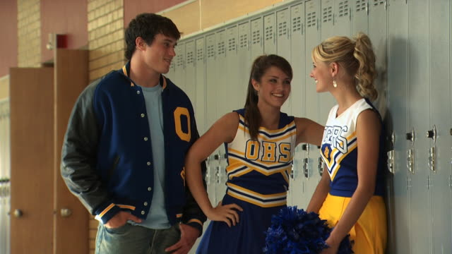cheerleaders and a young man - see other clips from this shoot 1148 stock videos and b-roll footage