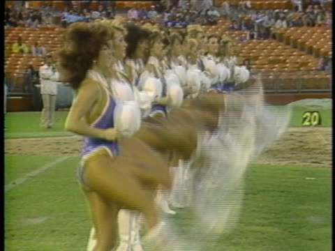 1983 ws cheerleaders performing for usfl team oakland invaders at oakland alameda county coliseum / oakland, california, usa - cheerleader stock videos & royalty-free footage