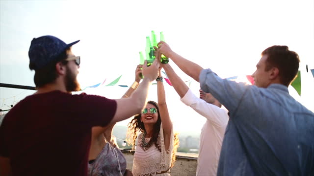 cheers to friends! - beer alcohol stock videos and b-roll footage