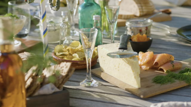 cheese and fresh salmon at midsummer dinner - dairy product stock videos & royalty-free footage