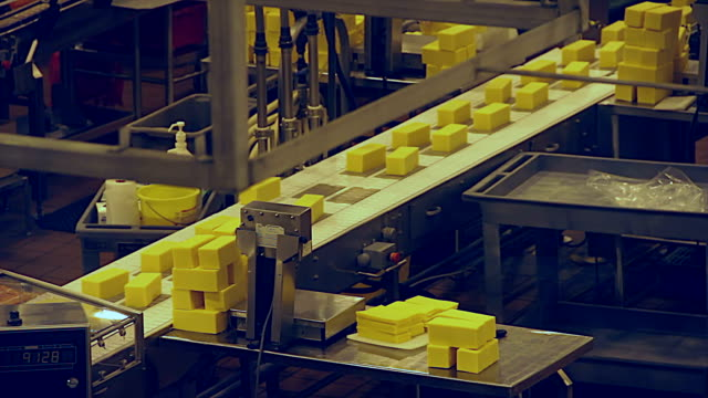 cheese production line - weigh & trim station - food processing plant stock videos and b-roll footage