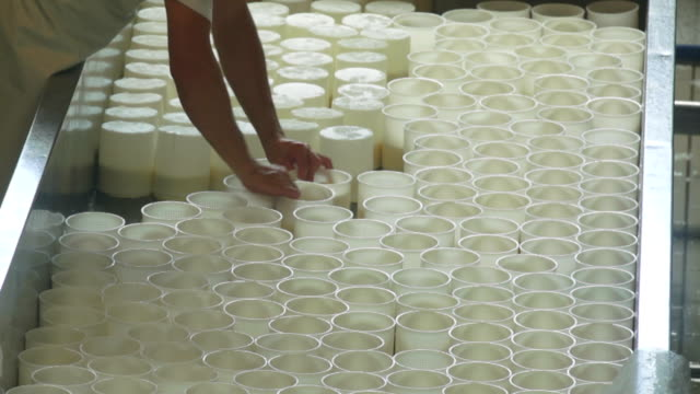 cheesemaker tornitura la ricotta moulds - siero video stock e b–roll