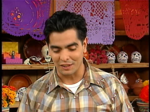 chef aaron sanchez during hispanic halloween segment describes the dia de los mueros traditions. in studio interview sanchez says it is basically a... - dia stock videos & royalty-free footage