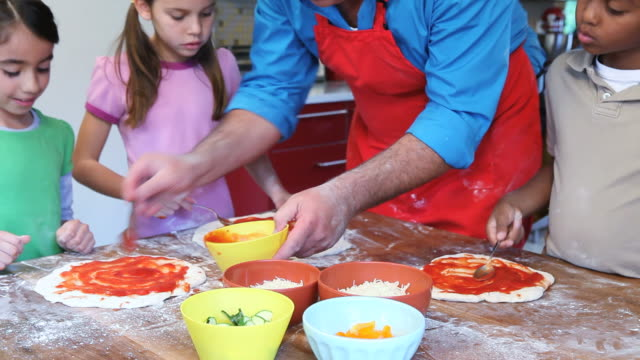 ms zo chef and children (6-11) making pizza / los angeles, california, usa - making stock videos & royalty-free footage