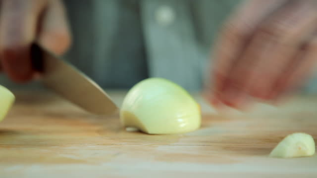 chef chopping onions - chopped stock videos & royalty-free footage