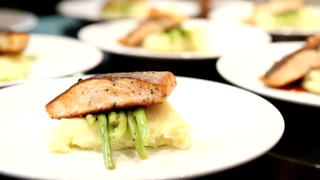 HD: Chef Cooking Gourmet Salmon Steak Entr