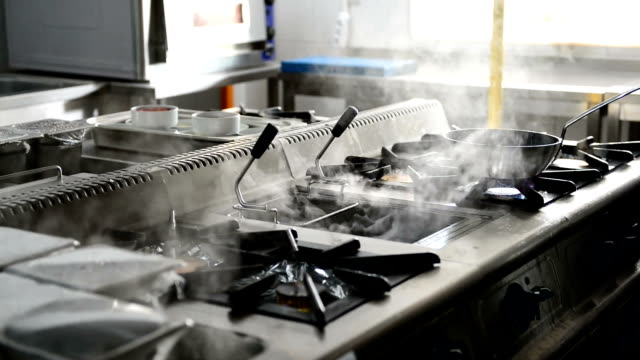 chef cooking in a busy commercial kitchen - ozgurdonmaz stock videos and b-roll footage