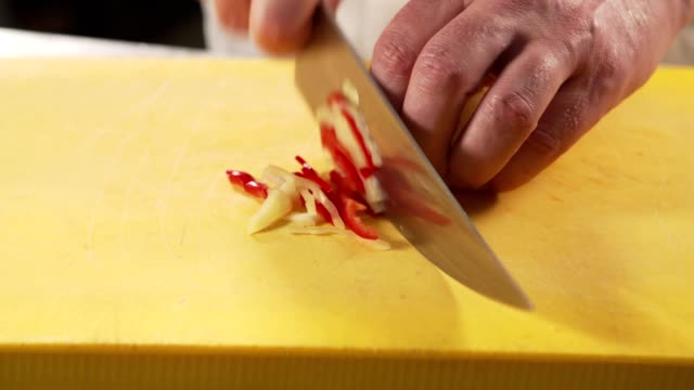chef cutting paprika - table knife stock videos & royalty-free footage