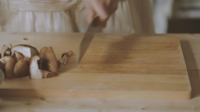 chef cutting shiitake mushrooms - shiitake stock videos & royalty-free footage