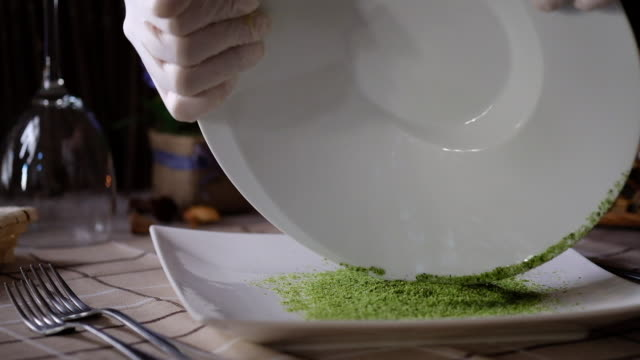 chef decorating edge of a plate - crumb stock videos & royalty-free footage