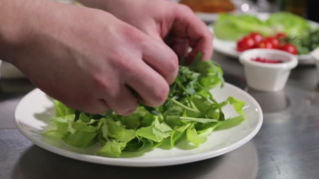 vidéos et rushes de salade verte vinaigrette du chef - salade verte