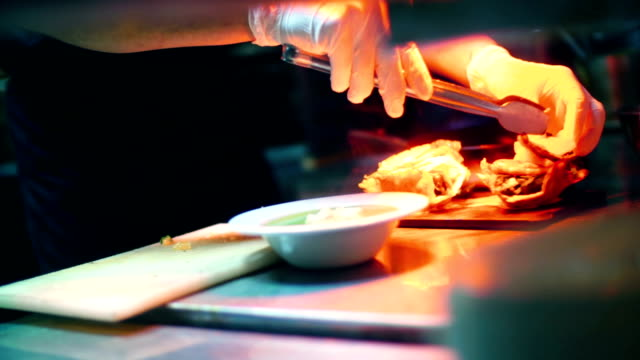 chef finishing a meal. - silver platter stock videos and b-roll footage