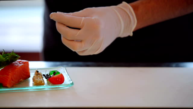 chef garnishing appetizer plates at order station - smoked food stock videos and b-roll footage