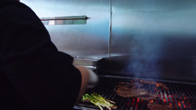 chef grilling meat in mexican restaurant - mexican restaurant stock videos & royalty-free footage