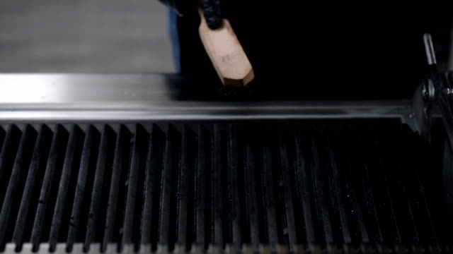 chef is cleaning the hot grill - bbq brush stock videos and b-roll footage