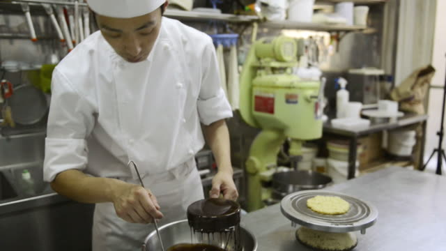MS Chef making pastry chocolate cake confectionery / Kyoto, Japan