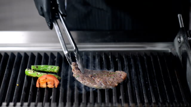 chef marinated meat grilled on the grill - marinated stock videos & royalty-free footage