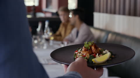 chef placing plates on counter for waiter - 4k resolution stock videos & royalty-free footage