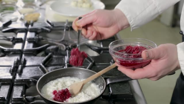 chef preparing red beet risotto - french food stock videos & royalty-free footage
