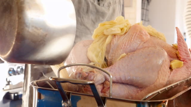 MS TU Chef preparing roasted turkey during holiday cooking class