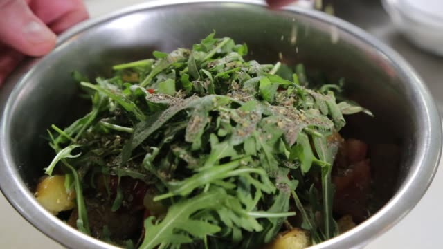 chef preparing salad - preparation stock videos & royalty-free footage