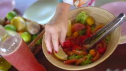 Chef preparing vegetable salad