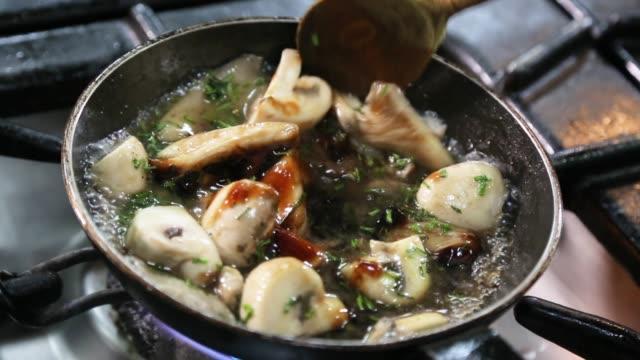 chef preparing vegetarian meal - mushroom stock videos & royalty-free footage