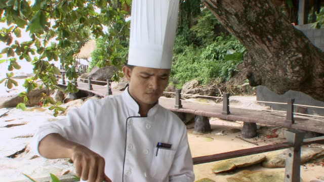 ms zo chef putting ingredients onto grill / sihanoukville, cambodia - crockery stock videos & royalty-free footage