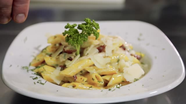 chef serving pasta dish - recipe stock videos & royalty-free footage