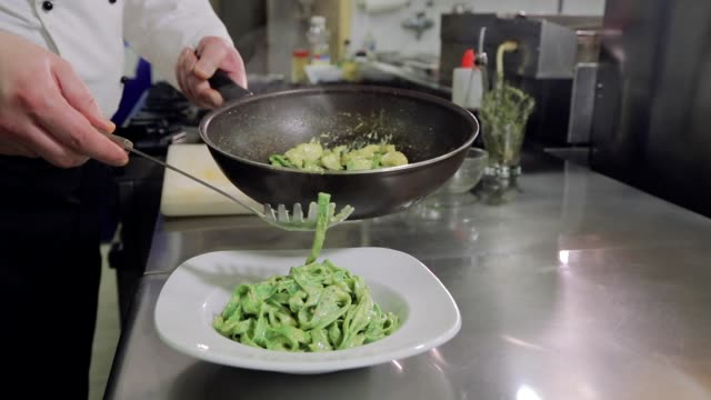 chef serving pasta dish - macaroni salad stock videos & royalty-free footage