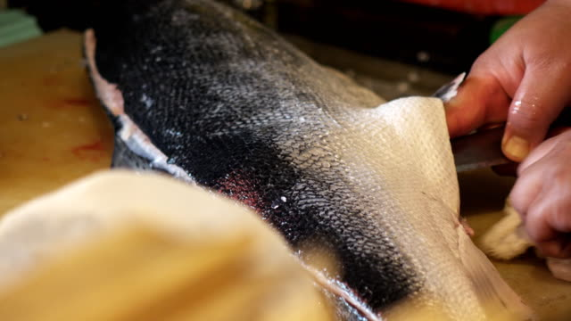 chef slicing fresh salmon - salmon stock videos & royalty-free footage