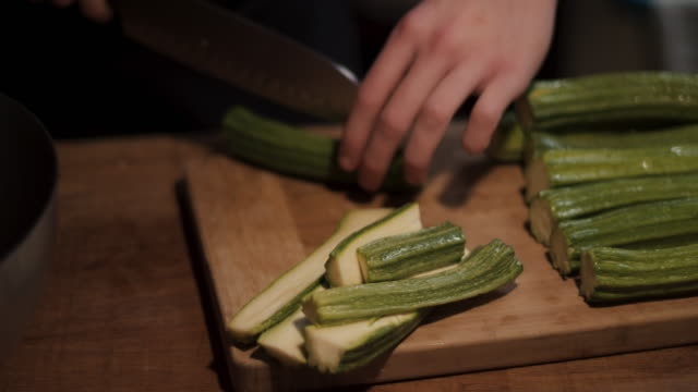 chef slicing vegetables - courgette stock videos and b-roll footage
