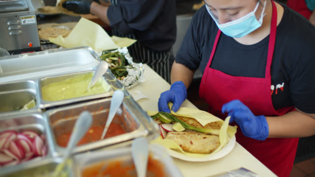 Chef Wearing Mask and Gloves Making Tacos and Covering Plate with Foil During Covid-19 Lockdown