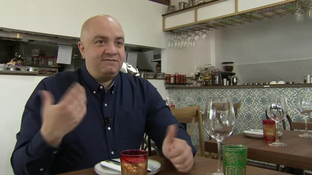 chef who lost three restaurants in syrian civil war opens new restaurant in london; england: london: soho: int imad alarnab interview sot / set up... - war and conflict stock videos & royalty-free footage