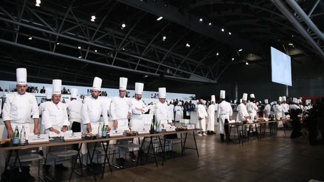 chefs from about twenty countries meet for two days in turin during the bocuse d'or culinary competition - dor stock videos & royalty-free footage
