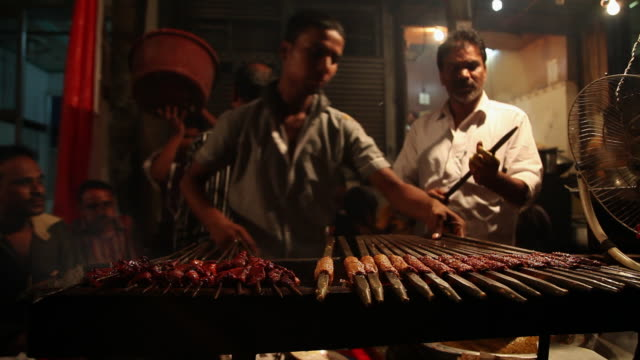ms chefs making kebabs at food stall / delhi, delhi, india - concession stand stock videos and b-roll footage