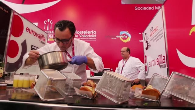 chefs take part in the final phase of the tenth edition of the national skewers and tapas competition at the cupola del milenio in valladolid in spain - tapas stock videos & royalty-free footage