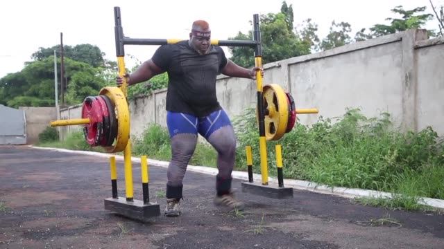 cheick ahmed al hassan sanou known as iron biby is one of the strongest men in the world - world's strongest man stock videos and b-roll footage