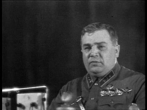 stockvideo's en b-roll-footage met cheka's 20th anniversary in bolshoi theatre state police minister's assistant frinovsky having speech praising yezhov and mentioning enemy spies the... - 1937