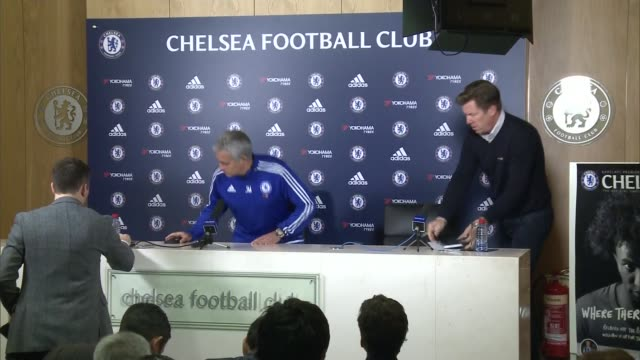 surrey cobham int jose mourinho arriving at press conference and taking seat close shot face of mourinho jose mourinho press conference sot my view... - cobham surrey stock videos and b-roll footage