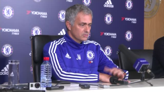 cobham int jose mourinho seated at press conference - cobham training ground stock videos and b-roll footage