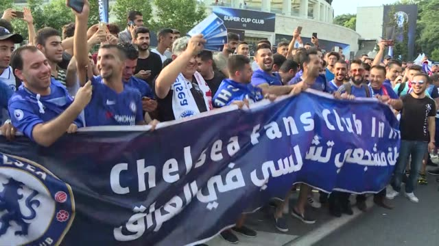 Chelsea fans gather outside the Vodafone Park prior to the UEFA Super Cup match between Liverpool and Chelsea on August 14 2019 in Istanbul Turkey